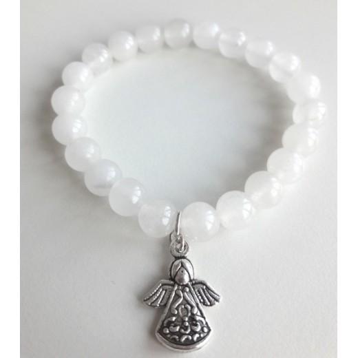 Jade karkötő angyal medállal