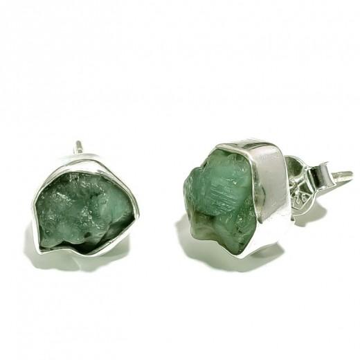 Smaragd fülbevaló, ezüst (csiszolatlan, természetes)