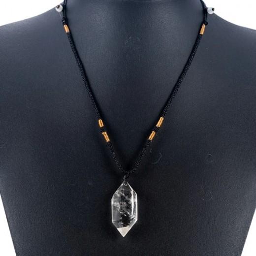 Hegyikristály dupla csúcs medál nyaklánc résszel