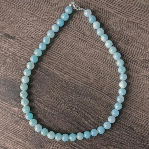Amazonit nyaklánc, valódi, kék