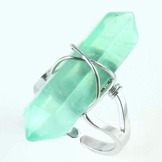 Fluorit gyűrű, zöld, állítható méret